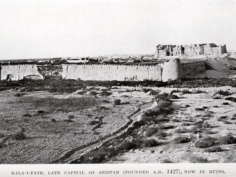 Tate, G.P. (1909): The Frontiers of Baluchistan, f.p. 103: the whole Qala, taken from the south.