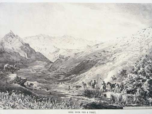 Sepia-toned photo-lithograph of a wash sketch, showing the northern descent of the Nehalshani Pass (Kotal-i-Nehal Shani) in direction of the Zulfikar Pass. In the foreground a survey group of the ABC is resting: a British Officer, Bengal Lancers, and some Afghan guides with horses.
