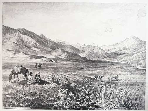 Sepia-toned photo-lithograph of a wash sketch, showing the wide and rather flat pass on the road from Kohsan to Gulran, which forms the watershed between the Hari Rud and Murghab Rivers. Spread on the plain are some groups of men and horses and a tent.