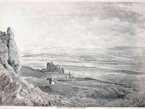 Sepia-toned photo-lithograph of a wash sketch, showing on the left margin the remains of brickwork of the old keep of Gulran with the ditch in front of it. In the right background the tents of the ABC are visible.