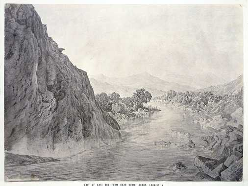 Sepia-toned photo-lithograph of a wash sketch, showing the Hari Rud River leaving a gorge between steep rock faces. In this area the river forms the boundary between Afghanistan and Iran. On the left side is Persian territory, on the right it is Afghan.